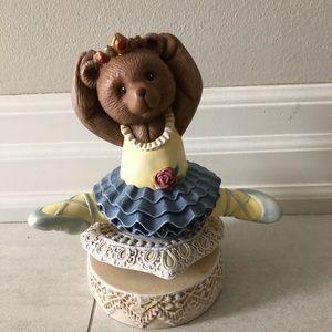 Ceramic Ballerina Bear Music Box 🐻